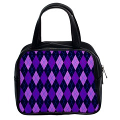 Plaid Triangle Line Wave Chevron Blue Purple Pink Beauty Argyle Classic Handbags (2 Sides) by Alisyart