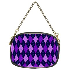 Plaid Triangle Line Wave Chevron Blue Purple Pink Beauty Argyle Chain Purses (two Sides)