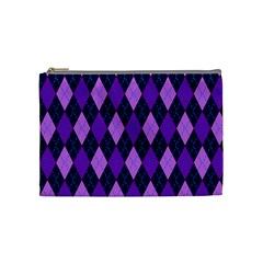 Plaid Triangle Line Wave Chevron Blue Purple Pink Beauty Argyle Cosmetic Bag (medium)  by Alisyart