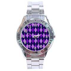 Plaid Triangle Line Wave Chevron Blue Purple Pink Beauty Argyle Stainless Steel Analogue Watch