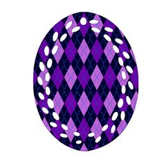 Plaid Triangle Line Wave Chevron Blue Purple Pink Beauty Argyle Ornament (oval Filigree) by Alisyart