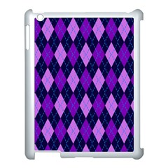 Plaid Triangle Line Wave Chevron Blue Purple Pink Beauty Argyle Apple Ipad 3/4 Case (white)