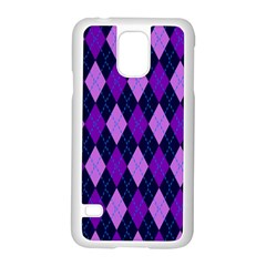 Plaid Triangle Line Wave Chevron Blue Purple Pink Beauty Argyle Samsung Galaxy S5 Case (white)