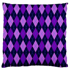 Plaid Triangle Line Wave Chevron Blue Purple Pink Beauty Argyle Large Flano Cushion Case (one Side) by Alisyart