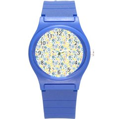 Flower Floral Bird Peacok Sunflower Star Leaf Rose Round Plastic Sport Watch (s) by Alisyart