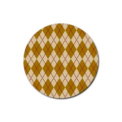 Plaid Triangle Line Wave Chevron Orange Red Grey Beauty Argyle Rubber Coaster (round)  by Alisyart