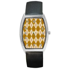 Plaid Triangle Line Wave Chevron Orange Red Grey Beauty Argyle Barrel Style Metal Watch by Alisyart