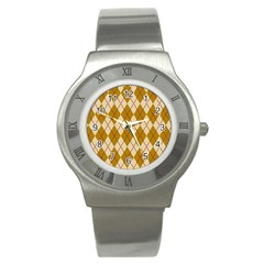 Plaid Triangle Line Wave Chevron Orange Red Grey Beauty Argyle Stainless Steel Watch