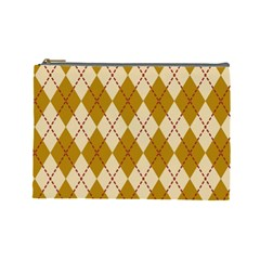 Plaid Triangle Line Wave Chevron Orange Red Grey Beauty Argyle Cosmetic Bag (large)