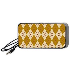 Plaid Triangle Line Wave Chevron Orange Red Grey Beauty Argyle Portable Speaker (black) by Alisyart