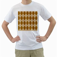 Plaid Triangle Line Wave Chevron Orange Red Grey Beauty Argyle Men s T Shirt (white)
