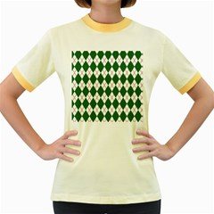 Plaid Triangle Line Wave Chevron Green Red White Beauty Argyle Women s Fitted Ringer T Shirts