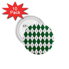 Plaid Triangle Line Wave Chevron Green Red White Beauty Argyle 1 75  Buttons (10 Pack)