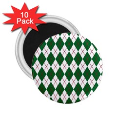 Plaid Triangle Line Wave Chevron Green Red White Beauty Argyle 2 25  Magnets (10 Pack)  by Alisyart