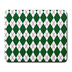 Plaid Triangle Line Wave Chevron Green Red White Beauty Argyle Large Mousepads by Alisyart