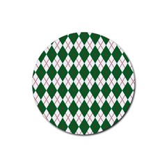 Plaid Triangle Line Wave Chevron Green Red White Beauty Argyle Rubber Round Coaster (4 Pack)