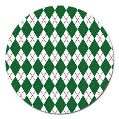 Plaid Triangle Line Wave Chevron Green Red White Beauty Argyle Magnet 5  (round) by Alisyart