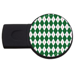 Plaid Triangle Line Wave Chevron Green Red White Beauty Argyle Usb Flash Drive Round (2 Gb) by Alisyart