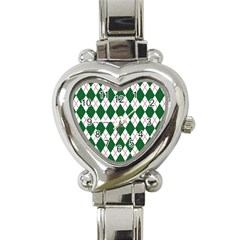 Plaid Triangle Line Wave Chevron Green Red White Beauty Argyle Heart Italian Charm Watch by Alisyart