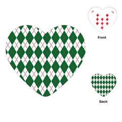 Plaid Triangle Line Wave Chevron Green Red White Beauty Argyle Playing Cards (heart)