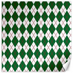 Plaid Triangle Line Wave Chevron Green Red White Beauty Argyle Canvas 20  X 20