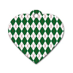 Plaid Triangle Line Wave Chevron Green Red White Beauty Argyle Dog Tag Heart (one Side) by Alisyart