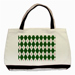 Plaid Triangle Line Wave Chevron Green Red White Beauty Argyle Basic Tote Bag (two Sides)