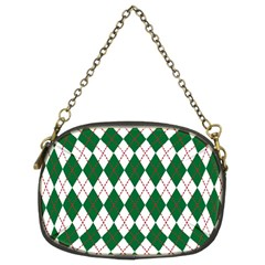 Plaid Triangle Line Wave Chevron Green Red White Beauty Argyle Chain Purses (two Sides)  by Alisyart