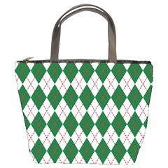 Plaid Triangle Line Wave Chevron Green Red White Beauty Argyle Bucket Bags