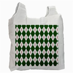 Plaid Triangle Line Wave Chevron Green Red White Beauty Argyle Recycle Bag (two Side)  by Alisyart