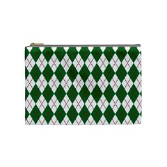 Plaid Triangle Line Wave Chevron Green Red White Beauty Argyle Cosmetic Bag (medium)