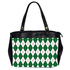 Plaid Triangle Line Wave Chevron Green Red White Beauty Argyle Office Handbags (2 Sides)  by Alisyart