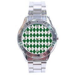Plaid Triangle Line Wave Chevron Green Red White Beauty Argyle Stainless Steel Analogue Watch by Alisyart