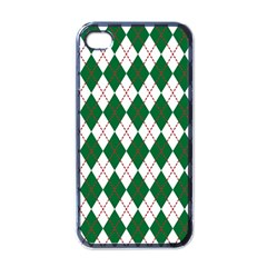 Plaid Triangle Line Wave Chevron Green Red White Beauty Argyle Apple Iphone 4 Case (black)