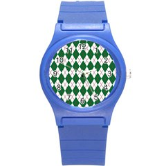 Plaid Triangle Line Wave Chevron Green Red White Beauty Argyle Round Plastic Sport Watch (s) by Alisyart