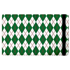 Plaid Triangle Line Wave Chevron Green Red White Beauty Argyle Apple Ipad 3/4 Flip Case by Alisyart