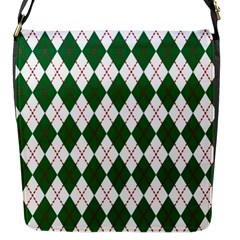 Plaid Triangle Line Wave Chevron Green Red White Beauty Argyle Flap Messenger Bag (s) by Alisyart