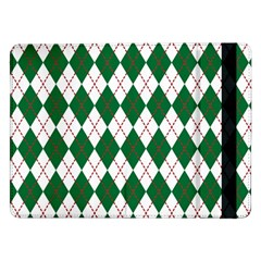 Plaid Triangle Line Wave Chevron Green Red White Beauty Argyle Samsung Galaxy Tab Pro 12 2  Flip Case by Alisyart