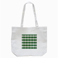 Plaid Triangle Line Wave Chevron Green Red White Beauty Argyle Tote Bag (white) by Alisyart
