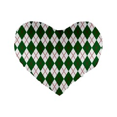 Plaid Triangle Line Wave Chevron Green Red White Beauty Argyle Standard 16  Premium Flano Heart Shape Cushions by Alisyart