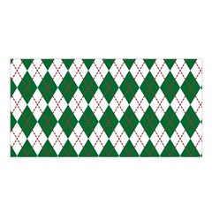 Plaid Triangle Line Wave Chevron Green Red White Beauty Argyle Satin Shawl by Alisyart