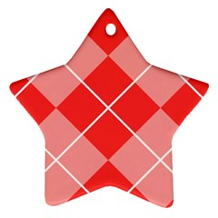 Plaid Triangle Line Wave Chevron Red White Beauty Argyle Ornament (star)