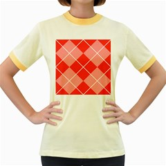 Plaid Triangle Line Wave Chevron Red White Beauty Argyle Women s Fitted Ringer T Shirts by Alisyart
