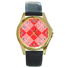 Plaid Triangle Line Wave Chevron Red White Beauty Argyle Round Gold Metal Watch by Alisyart