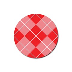 Plaid Triangle Line Wave Chevron Red White Beauty Argyle Rubber Coaster (round)  by Alisyart