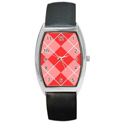 Plaid Triangle Line Wave Chevron Red White Beauty Argyle Barrel Style Metal Watch by Alisyart