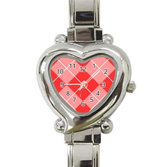 Plaid Triangle Line Wave Chevron Red White Beauty Argyle Heart Italian Charm Watch by Alisyart
