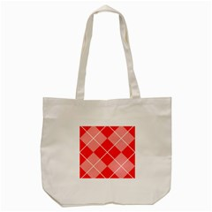 Plaid Triangle Line Wave Chevron Red White Beauty Argyle Tote Bag (cream) by Alisyart