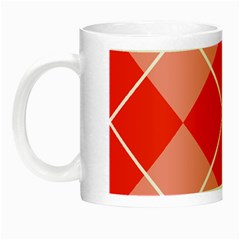 Plaid Triangle Line Wave Chevron Red White Beauty Argyle Night Luminous Mugs by Alisyart