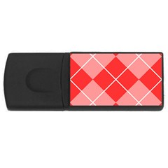 Plaid Triangle Line Wave Chevron Red White Beauty Argyle Usb Flash Drive Rectangular (4 Gb)